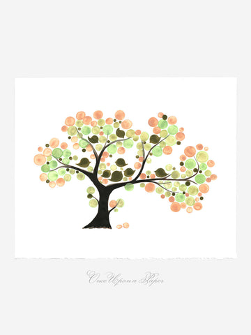 Annyversary Gift - TEA PARTY TREE - Giclee Art Print Reproduction of Watercolor Painting -Trees of Life Collection