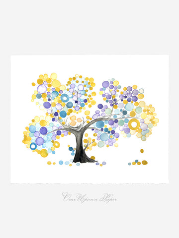Annyversary Gift - YELLOW PURPLE FAMILY - Giclee Art Print Reproduction of Watercolor Painting -Trees of Life Collection