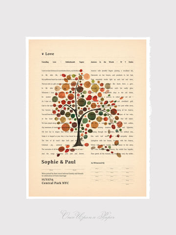 Quaker Marriage Certificate art print, Wedding Guest Print - Vintage Book Page Two Columns Featuring Love Poems - Windy Day Fall Tree