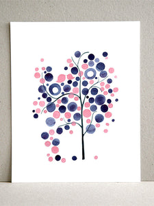 PINK BLUE TREE art print