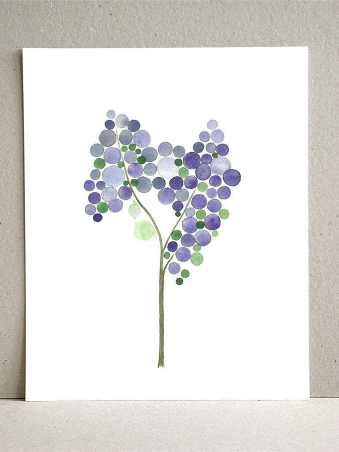 Gift Favor wall art - Giclee Art Print Reproduction of Watercolor Painting - PURPLE LILAC TREE - Trees of Life Collection
