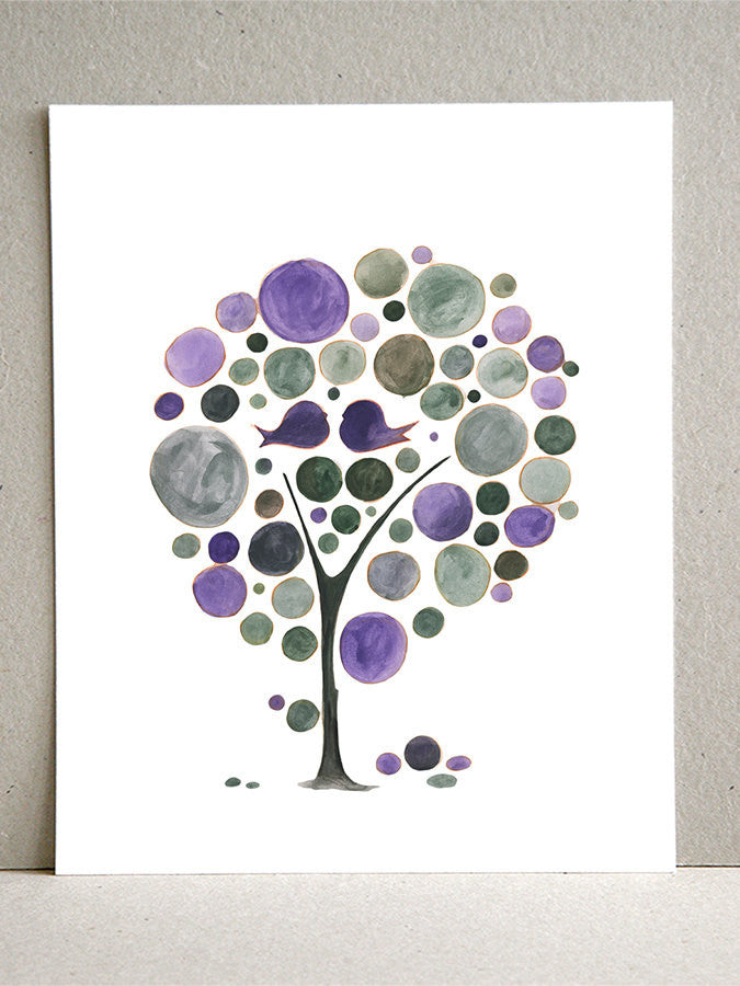 PURPLE LOVE BIRDS TREE art print