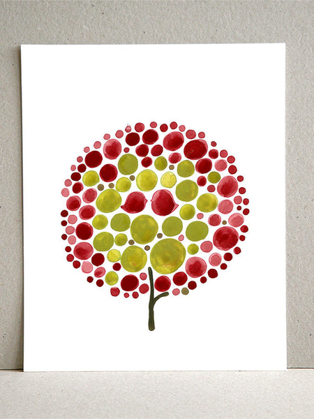Wedding Gift wall art - Giclee Art Print Reproduction of Watercolor Painting - Red Balloon Tree - Trees of Life Collection