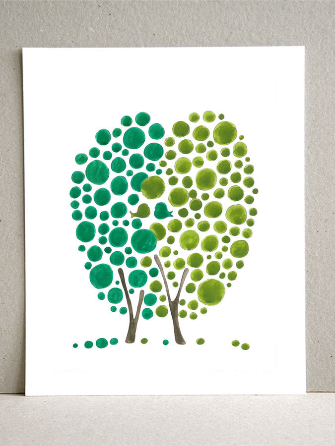 Inspirational art print - Giclee Art Print Reproduction of Watercolor Painting - Two as One Green Love Birds Tree - Trees of Life Collection