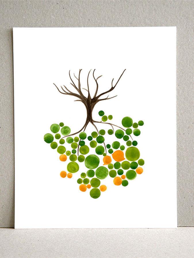 UPSIDE DOWN TREE watercolor art print