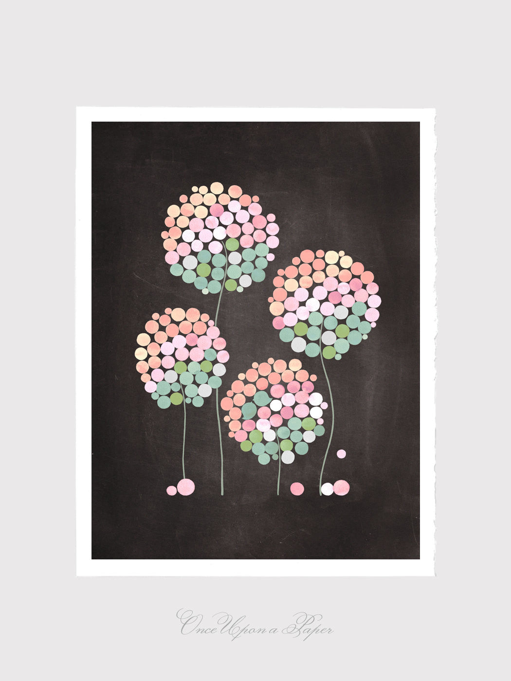 Inspirational art print - Giclee Art Print Reproduction of Watercolor Painting - 4 CLOVER FLOWERS - Trees of Life Collection