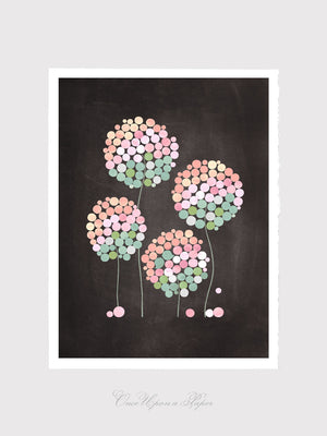 4 CLOVER FLOWERS art print