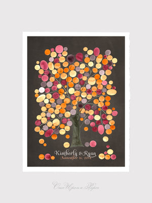 Wedding Guestbook art print - MONGOLIAN OAK TREE