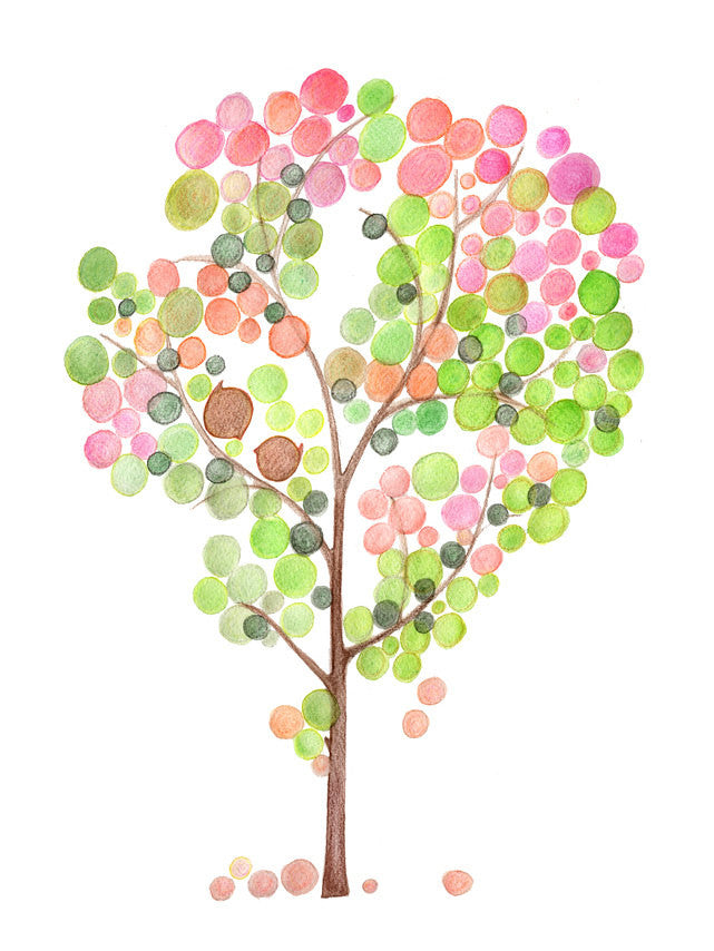 PINK GREEN TREE art print