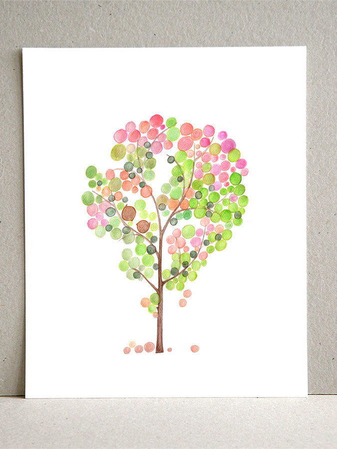 Gift Favor wall art - Giclee Art Print Reproduction of Watercolor Painting - PINK GREEN TREE- Trees of Life Collection