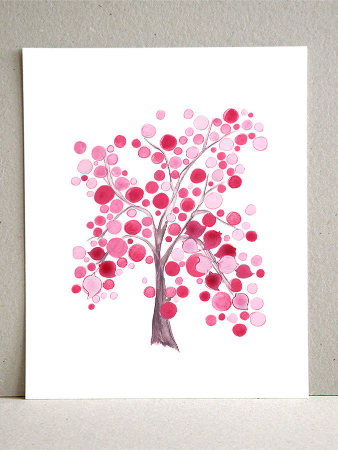 Gift Favor wall art - Giclee Art Print Reproduction of Watercolor Painting - Pink Party Tree - Trees of Life Collection