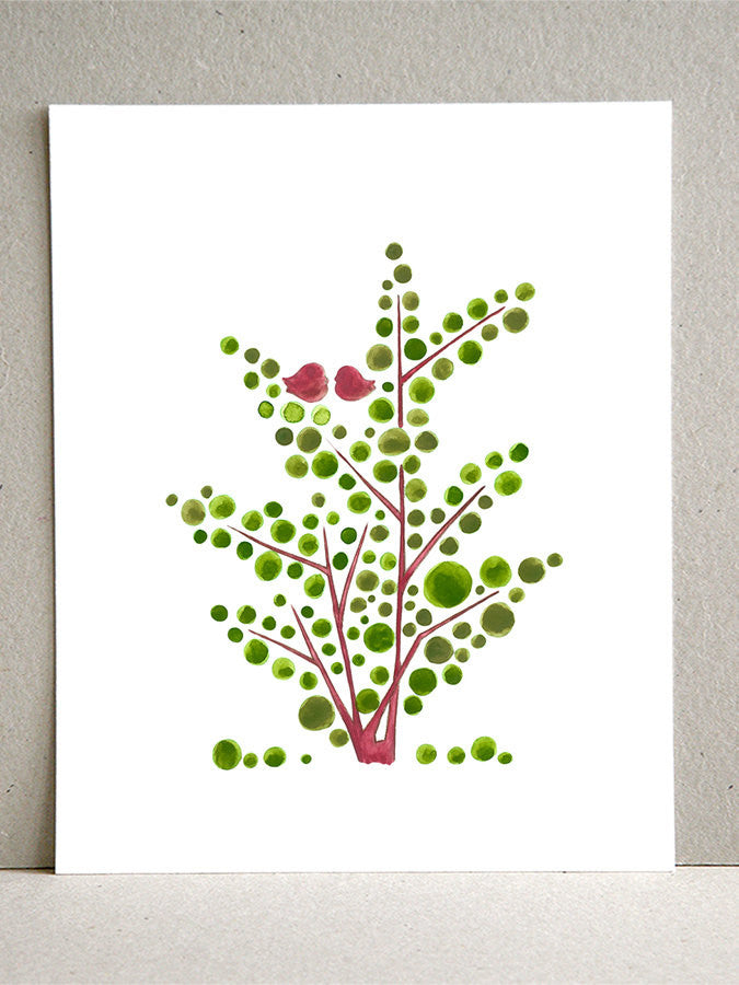Wedding Gift wall art - Giclee Art Print Reproduction of Watercolor Painting - Red Green Spring Tree - Trees of Life Collection