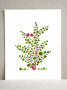 RED GREEN SPRING TREE art print