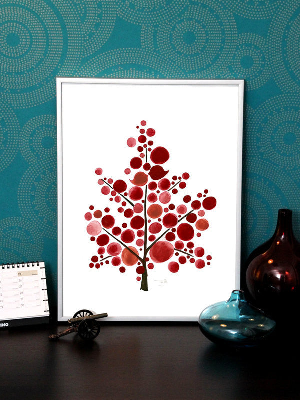 SCANDINAVIAN RED TREE art print