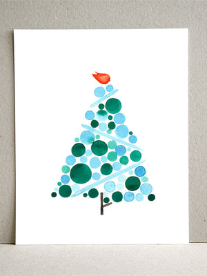 BLUE CHRISTMAS TREE art print