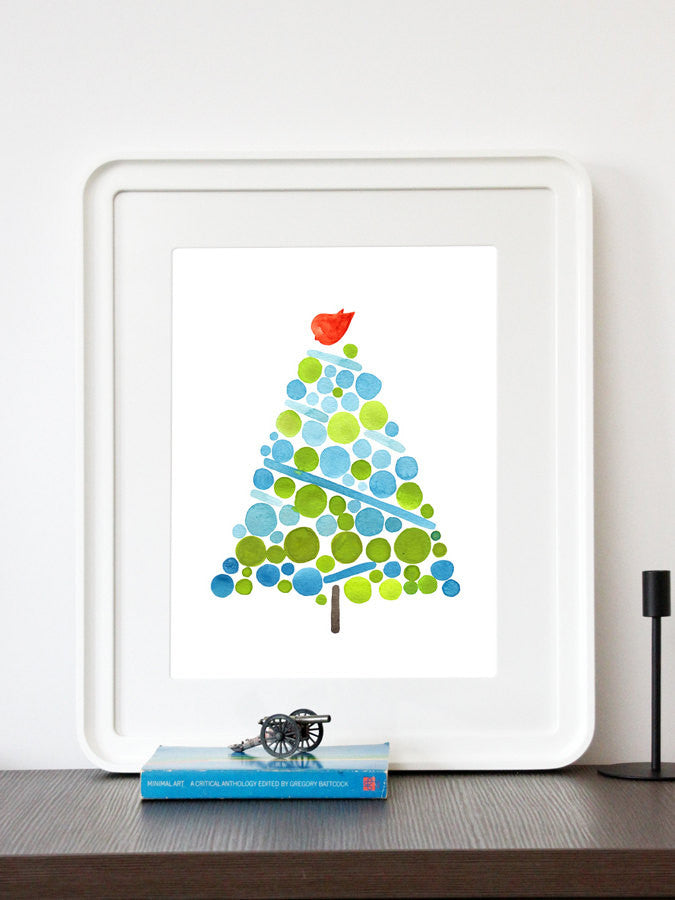 Christmas Presents Tree Gift - Traditional Christmas Tree - Giclee Art Print Reproduction of Watercolor Painting - Trees of Life Collection