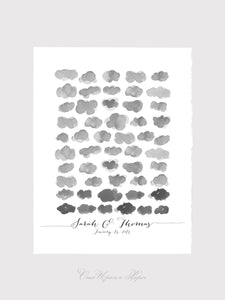 Wedding Guest Book Tree art Print - Watercolor Happy Clouds