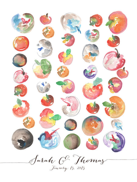 Wedding Guest Book Tree Alternative art Print - One Apple a Day - 40 Guest sign ons - wedding guest book sign art print - Apples for apples