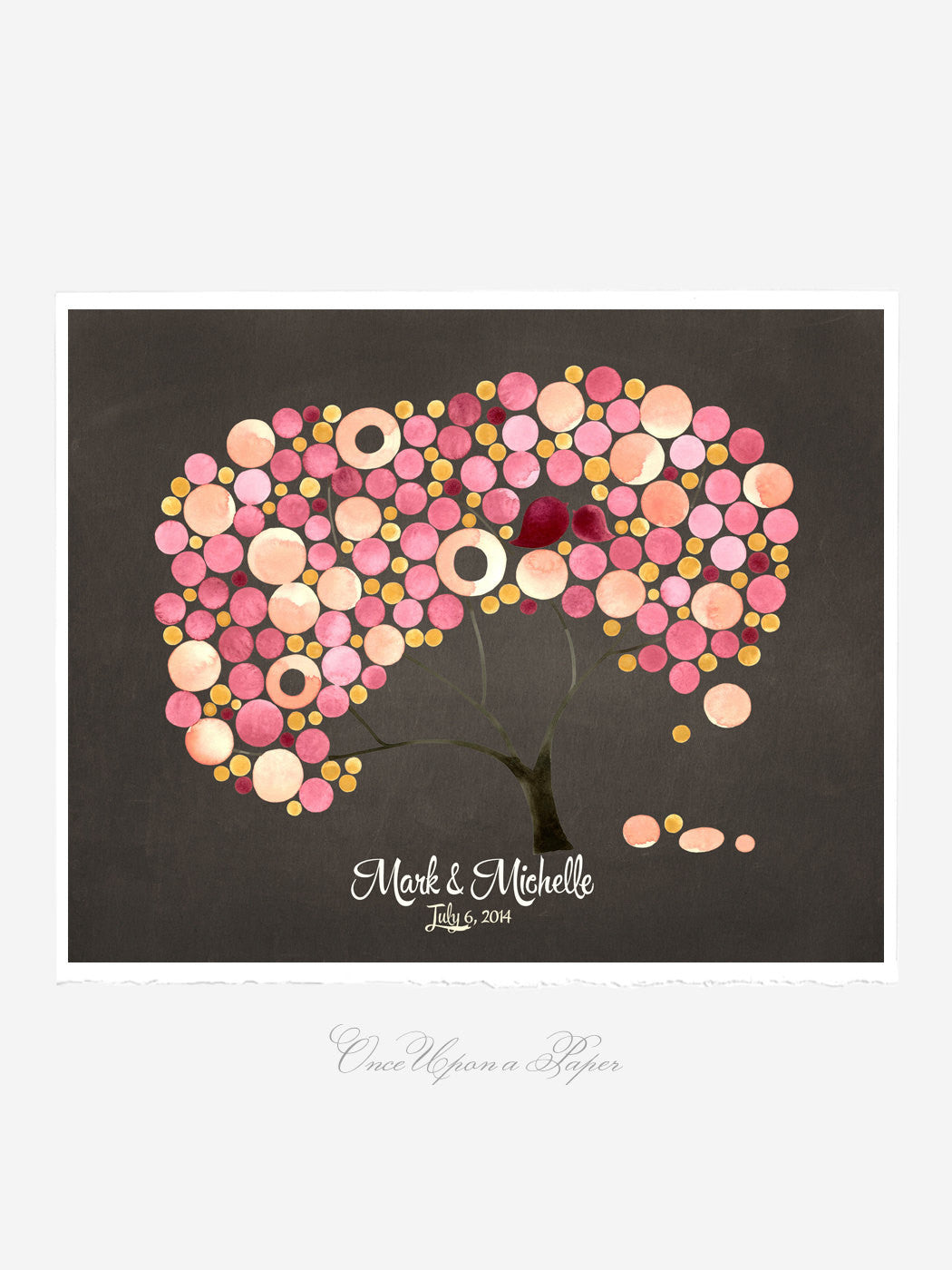 Wedding Rustic Guest Book Alternative - YUKON CHERRY TREE 100 Guest Sign in - Personalized Signature Wedding Tree Love Birds  art Poster