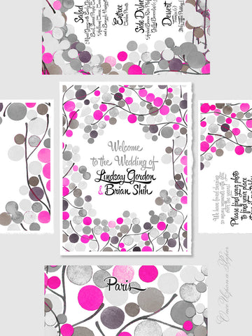 Printable Wedding Signage Poster Package - Welcome Sign, Favour Sign, Menu Card, Escort Sign, Table name Sign - Wedding Invitation Cards