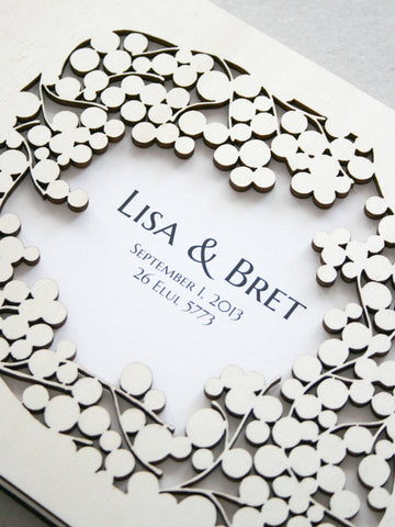 Custom Wedding Guest Book Album Branches with Love Birds, Modern anniversary guestbook album with woodcut covers