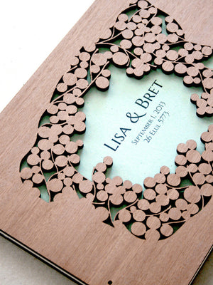 Woodcut Wedding Guest Book Album Branches with Love Birds, Modern abstract guestbook album with woodcut covers
