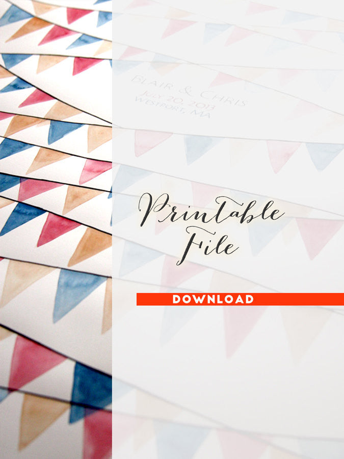 DIY Printable Personalized  Wedding Guest Book Signature Flags Pennants, digital PDF Do It Yourself Print