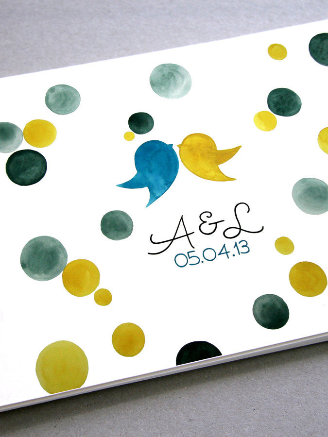 Custom Wedding Guest Book Album with Love Birds, Modern minimalist guestbook album with watercolor painted hardcovers
