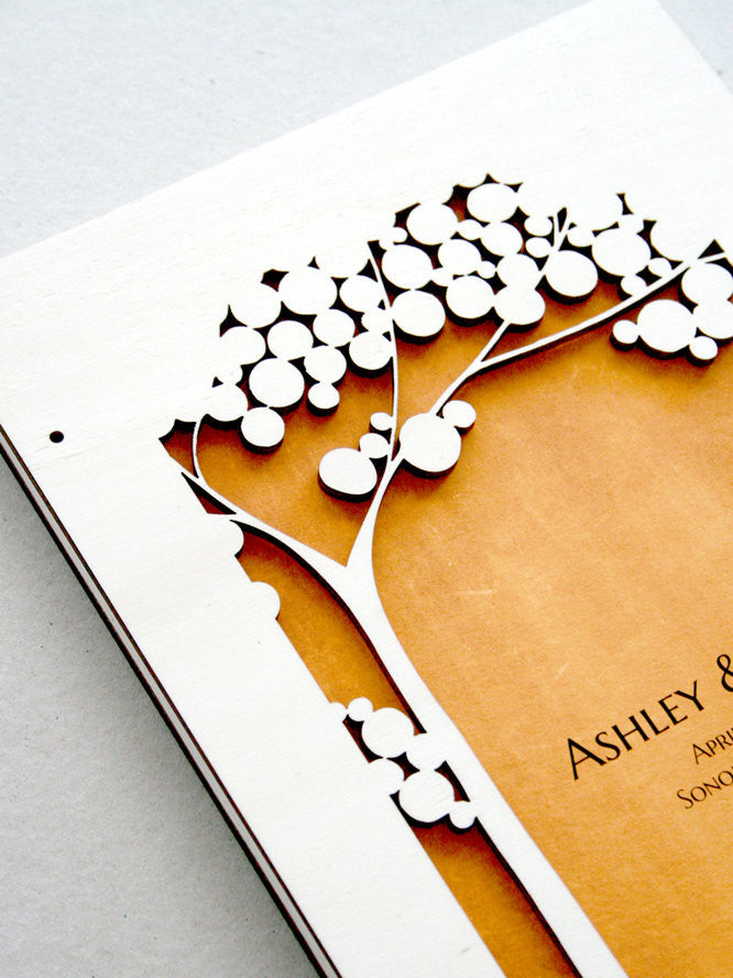 Woodcut Wedding Guest Book Album Tree of Life with Love Birds, Modern abstract minimalist anniversary guestbook album with woodcut covers