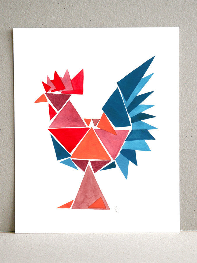 Wall art - Gentry Rooster - Giclee Art Print Reproduction of Watercolor Painting - Gentry Birds Collection