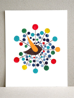 GENTRY BALL CLOCK BIRD watercolor art print