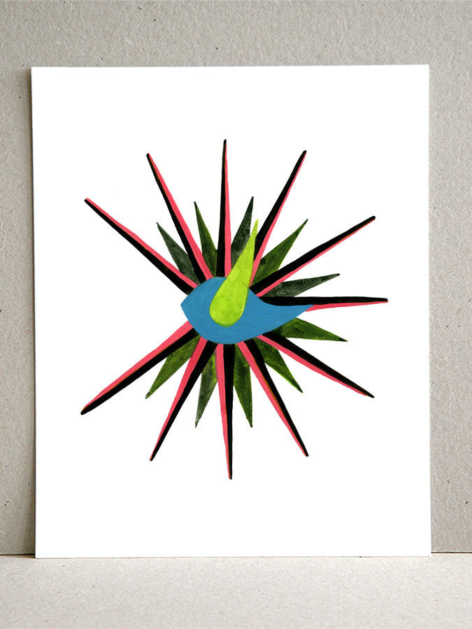 GENTRY SUNBURST CLOCK BIRD art print
