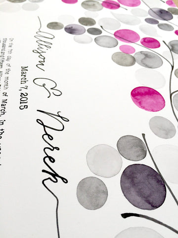 Painted Ketubah - THE TREE BRANCHES - Watercolor Ketubah with handmade Calligraphy by Elena Berlo