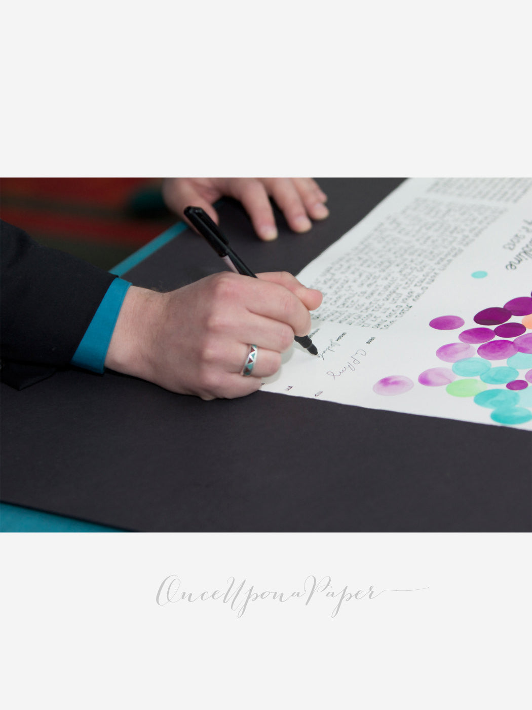 Unique custom painted Ketubah - SIGNATURE KETUBAH CALLIGRAPHY - custom made by OnceUponaPaper