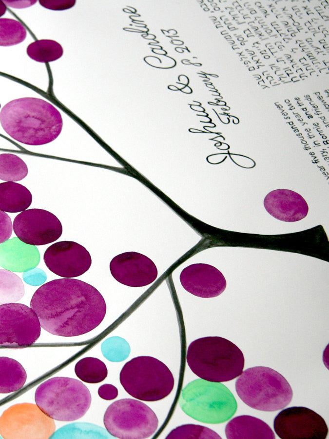 Custom Ketubah painting - THE PAINTED TREE - Ketubah Calligraphy and watercolor painting by OnceUponaPaper
