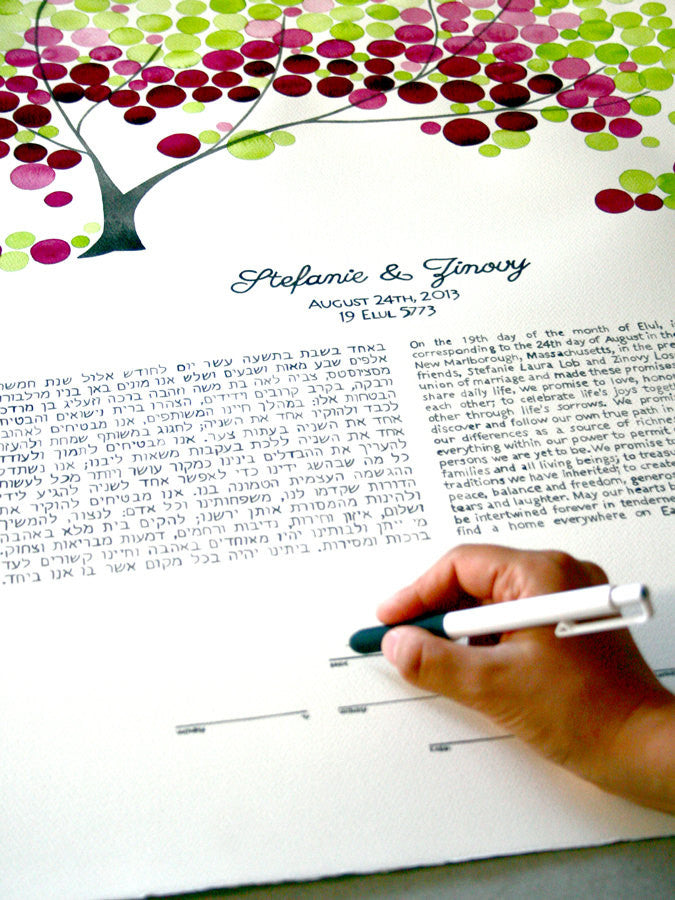 Watercolor Painted Ketubah with handmade Calligraphy - LILY MAGNOLIA TREE - Under the Chuppah personalized painted ketubah tree of life