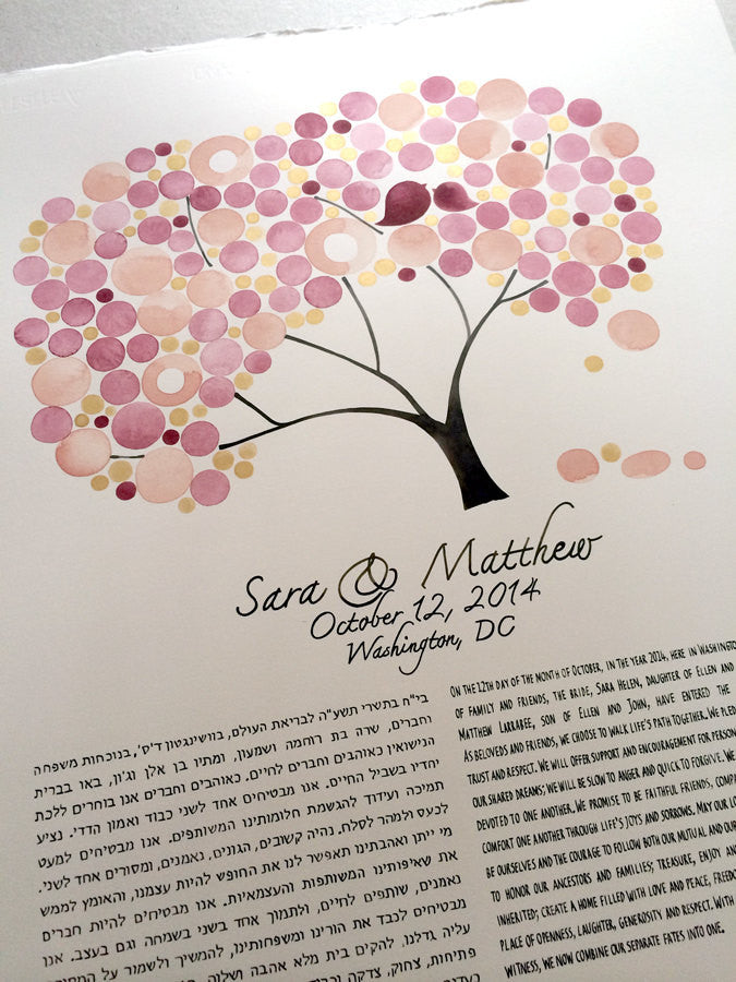 Watercolor Modern Ketubah - GOLDEN LEAF TREE - Happy Tree of Life Under the Chuppah, Custom painted Ketubah made with gold paint