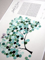Load image into Gallery viewer, Personalized Ketubah  Trees of Life with Love Birds Cool Mint