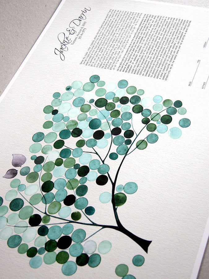 Personalized Ketubah  Trees of Life with Love Birds Cool Mint