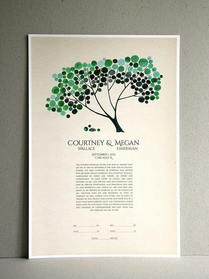 Personalized Modern abstract minimalist Ketubah