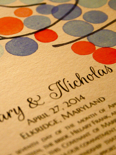 Personalized Ketubah Print from Painted Branches with Love Birds