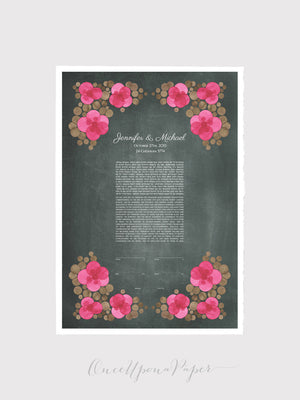 Ketubah art print - Pansy Flower Bucket