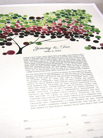 Custom Ketubah Tree of Life and Love Birds Hebrew and English Green and Purple