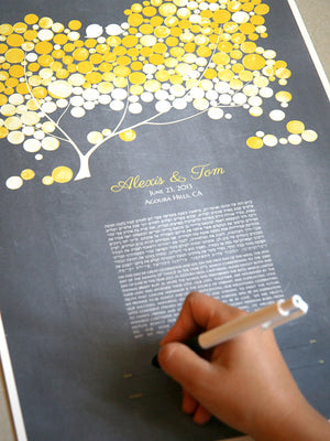 Personalized Modern Ketubah - Yellow Blush Tree of Life