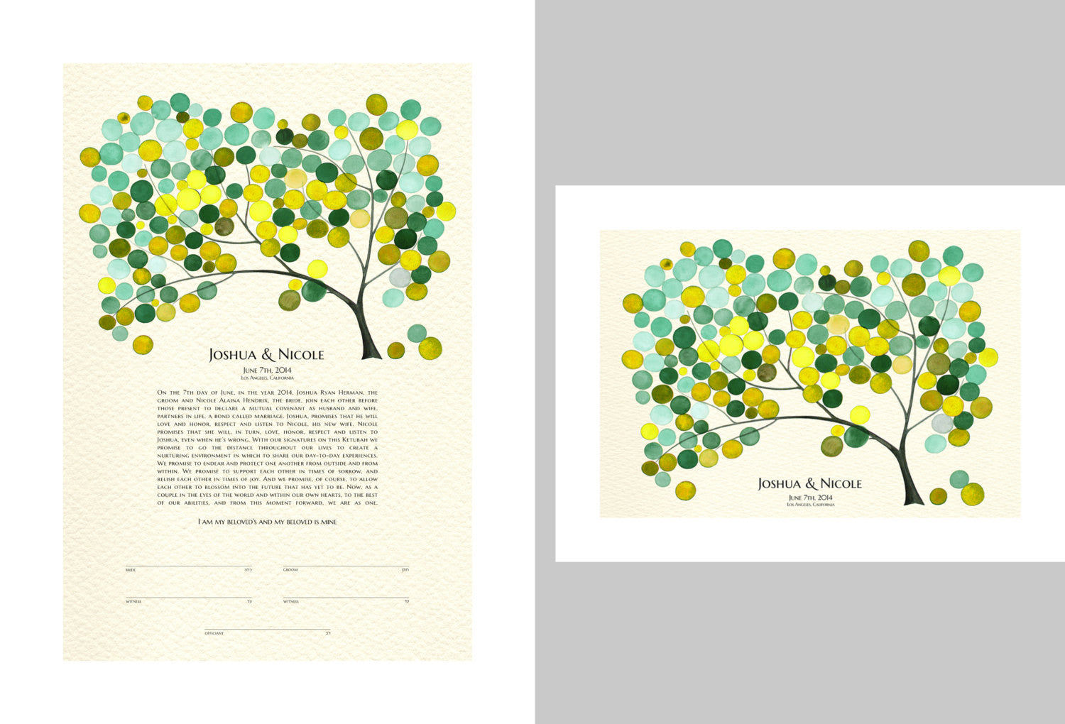 Matching Ketubah & Guestbook art Print - Tree of Life Modern Ketubah art Print - Jewish marriage certificate and guestbook - SET