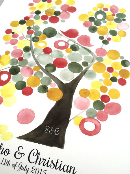 Wedding Guest Book Tree - 130 Guest Signatures - VELVET ASH TREE wedding art poster, watercolor painting art print, love birds, tree of life