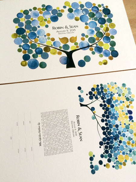Matching Ketubah and Guestbook Set - Tree of Life Modern Ketubah art Print - Jewish marriage certificate and guestbook