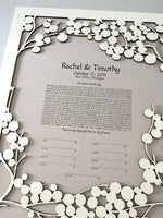 Load image into Gallery viewer, Ketubah Woodcut Light Branches - Modern sleek Ketubah art print