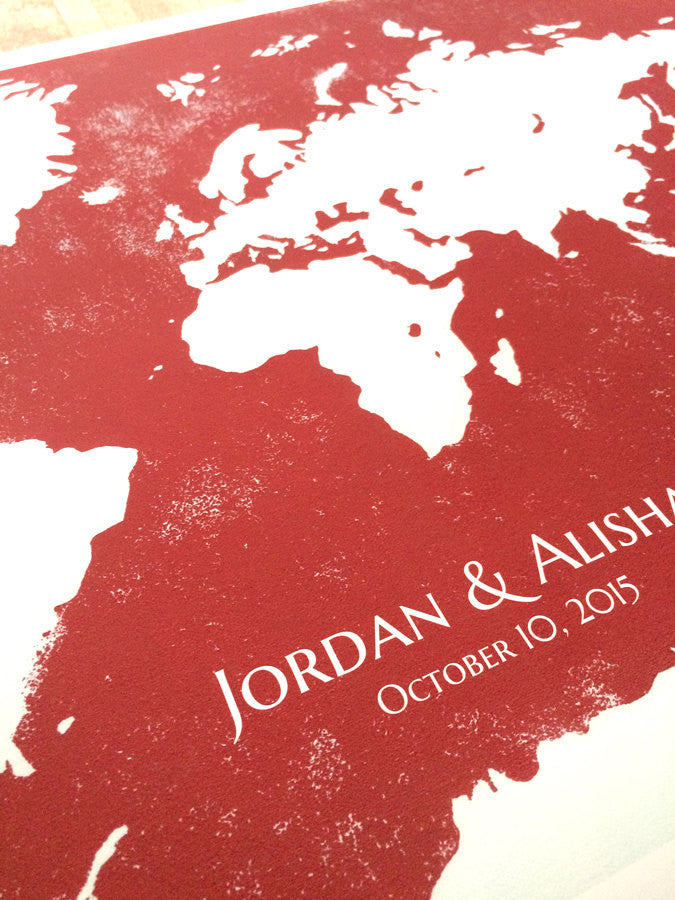 Wedding Guest Book Map Poster, WORLD MAP guests - 100 to 150 Guest sign-ons