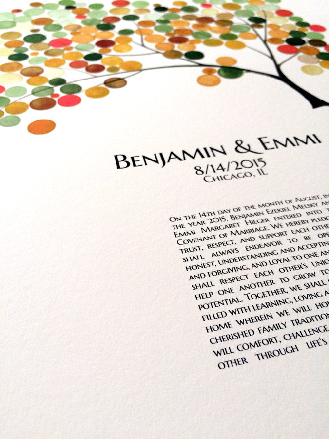 Simple English Ketubah art print - Spring Tree of Life by OnceUponaPaper - Design from Watercolor by Elena Berlo - one language ketubah